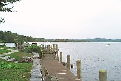 A walkway overlooking the river at the Town Dock, Deep River