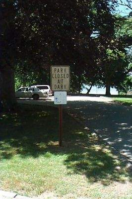 Parking and public acces sign at Spicer Memorial Park, Groton