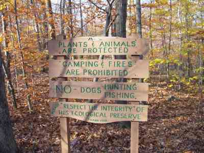Sign for Poquetanuck Cove Preserve, Ledyard