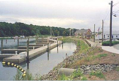 View of the docks at the Milford Landing Marina, Milford