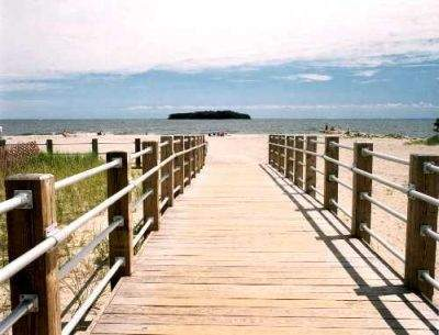 The boardwalk at Silver Sands State Park, Milford