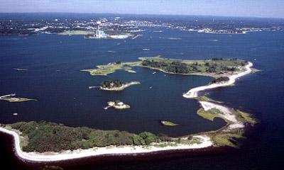 Aerial view of The Plains Island, Norwalk
