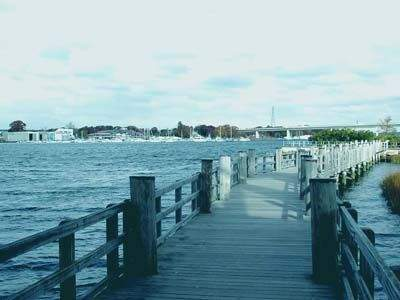 View of the boardwalk at DEP Marine Headquarters-Ferry Landing Park, Old Lyme