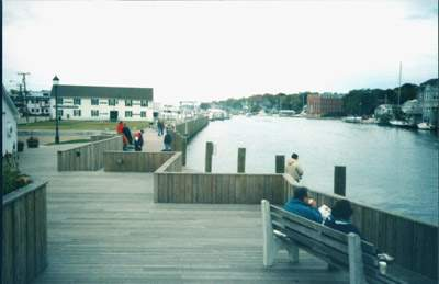 View of the boardwalk at Mystic River Park, Stonington