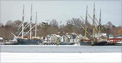 View of Mystic Seaport in the winter, Stonington