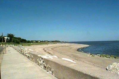 View of walkway and Long Island Sound at Point-No-Point, Stratford