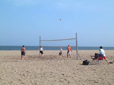 Volleyball players at Seabluff Beach, West Haven