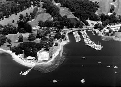 View from the air of Longshore Park and Country Club, Westport