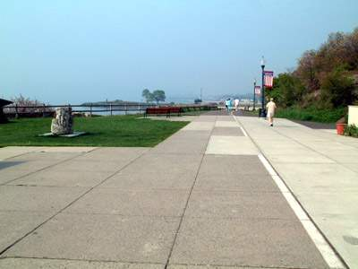 ... of walkway and benches at Savin Rock Conference Center, West Haven