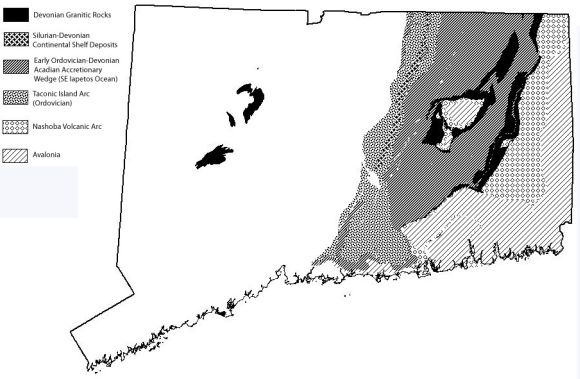 Map CT bedrock from Acadian Orogeny