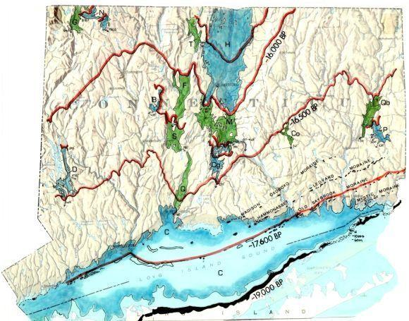 Map of Connecticut glacial lakes